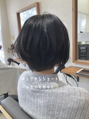 ショートカット ショートヘア バッサリ イメチェン ロングからショート 髪型 美容室 寝屋川 枚方 丸みショート (1)